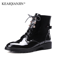 KEAIQIANJIN Woman Lace Up Martens Boots Butterfly Plus Size 33 43 Winter Patent Leather Shoes Genuine