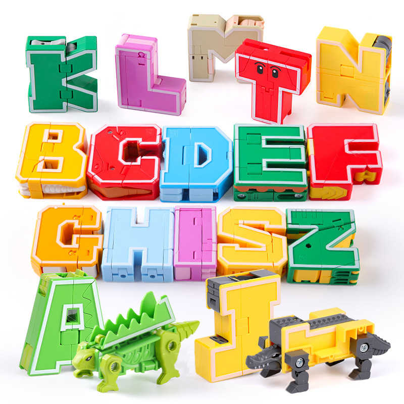 26 English letter Gudi City Figures Transformation Alphabet Dinosaur Robot Animal Educational Building Blocks Kids Toys Bricks