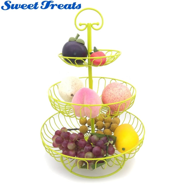 Sweettreats Colorful Fruit Rack 3 Tier Steel Layered Free Standing Kitchen Counter Top Basket