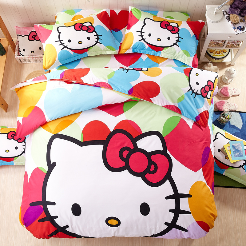 Colorful Comforter Bedding Sets Hello Kitty theme Satin Bed Sheets Children cartoon Home Bed Linen Set Duvet cover Pink Blue