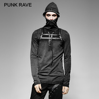 PUNK RAVE Steampunk Black Men PU Leather Loop Plain Hooded T shirt Cover Face Elastic Knitted Eyelet Stringing Bandage Tops Tees