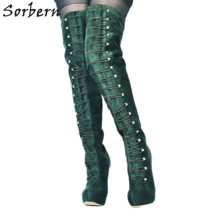 Sorbern Green Women Boots Over The Knee Platform Shoes Women Boots Women'S High Heeled Boots Fetish High Heels Bottine Lacets platform high heeled over the knee boots