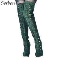 Sorbern Green Women Boots Over The Knee Platform Shoes Women Boots Women'S High Heeled Boots Fetish High Heels Bottine Lacets