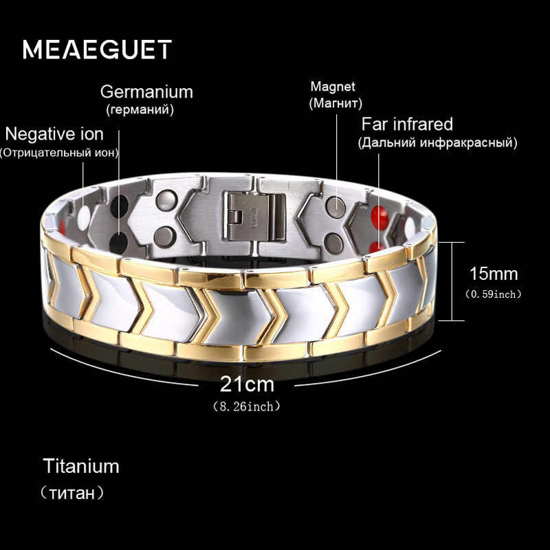 "Meaeguet 15mm Wide Titanium Magnetic Health Care Bracelet For Men Jewelry DIY Adjustable Length 8""-9"""