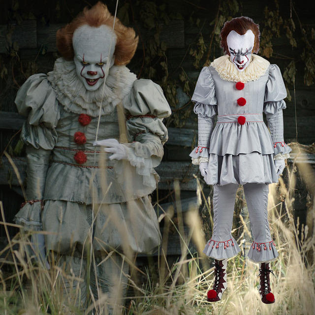 pennywise clown costume for adults men women halloween carnival cosplay stephen kings it costume joker outfit