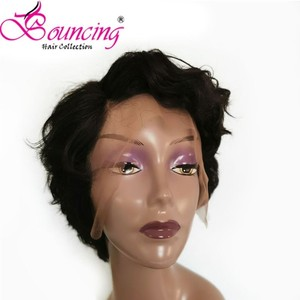 Image 1 - Bouncing Remy Hair 13*4 Lace Front Human Hair Wigs Pre plucked Natural Color 150% Pixie Short Cut Wig For Women Brazilian Hair
