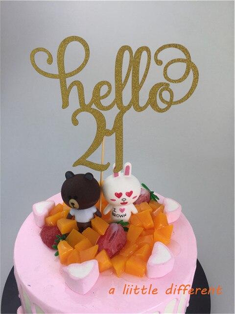 115x15cm 1pcs Set Gold Glitter Letter Number Hello 21 Birthday Cake Topper For Wedding