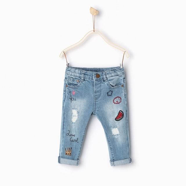 Новые Прибытия 2016 марка мода детские брюки девочка джинсы детские джинсы Повседневная малышей узкие джинсы для девочек