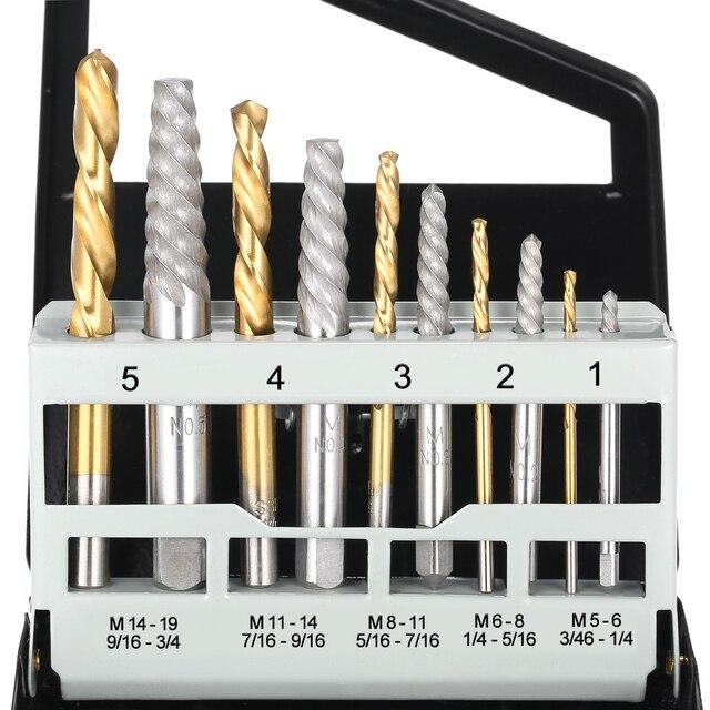 10 шт. кобальтовые левосторонние сверла для поврежденных болтов набор для извлечения поврежденных винтов с металлическим чехлом