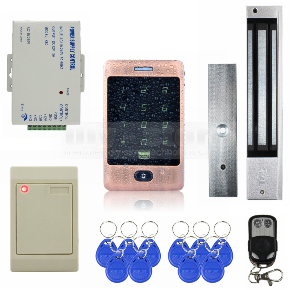 DIYSECUR Waterproof 125KHz RFID Reader Password Keypad + 280kg Magnetic Lock Door Access Control Security System Kit diysecur 280kg magnetic lock 125khz rfid password keypad access control system security kit exit button k2