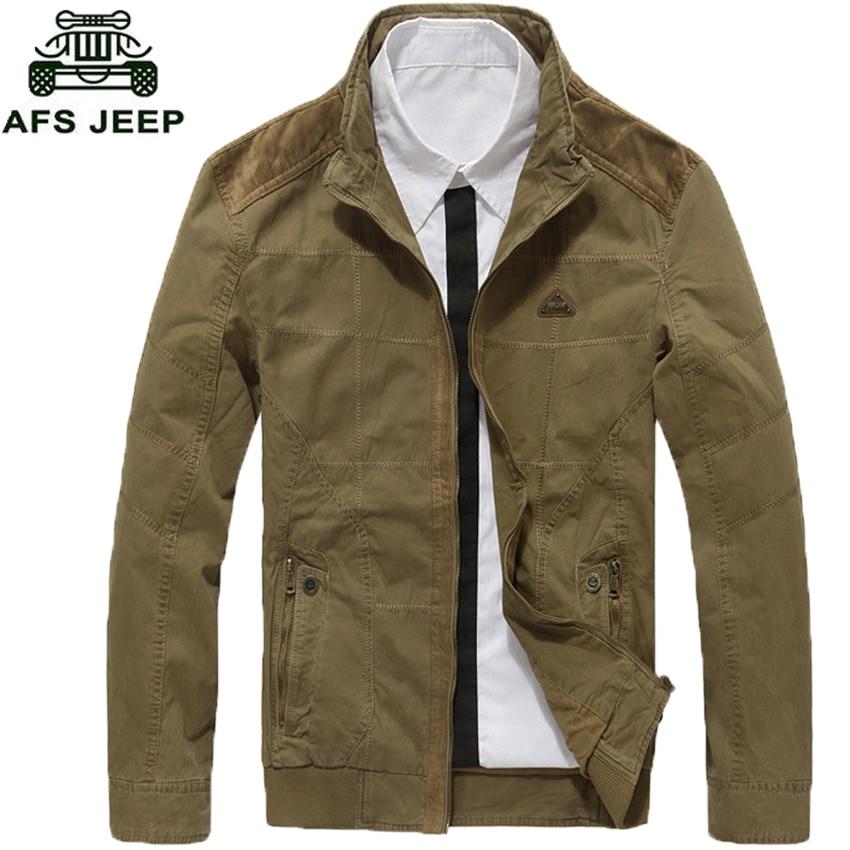 AFS JEEP Men Jacket Outerwear Zipper Male Casual Coat Autumn Clothing Solid Outwear Army Cotton Jackets Plus size XXXL 130