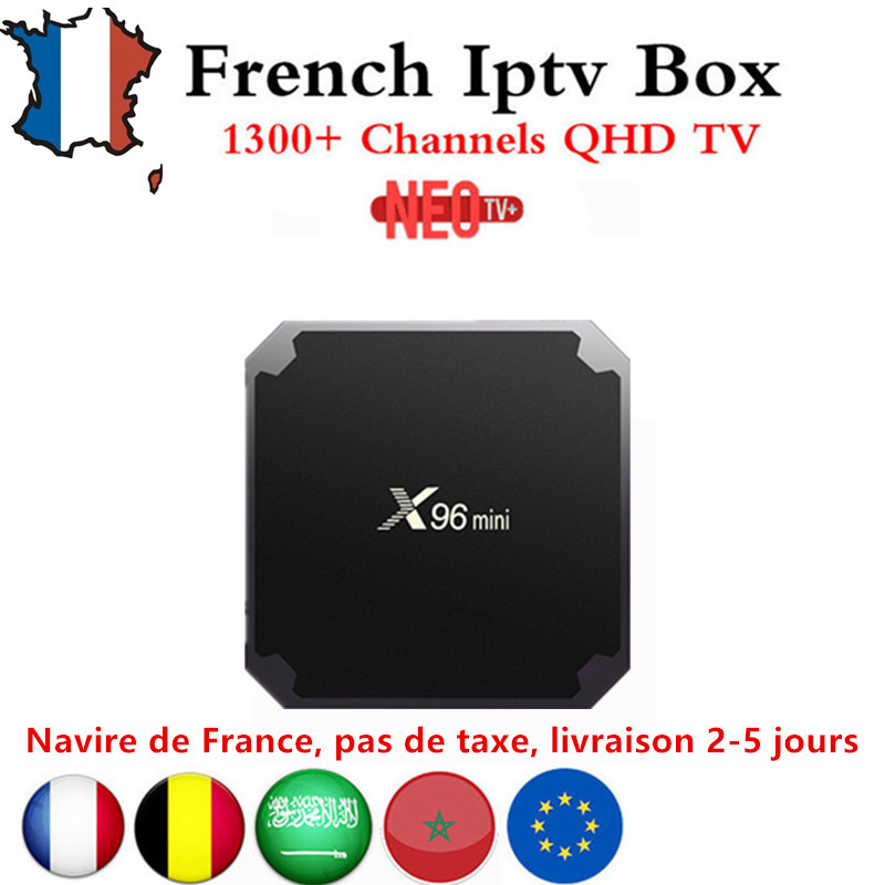 Français IPTV X96mini 4 k Android TV Box 7.1 avec 1300 + NEO IPTV Europe Français Arabe Espagne Tunisie Maroc PayTV Smart Set top boîte