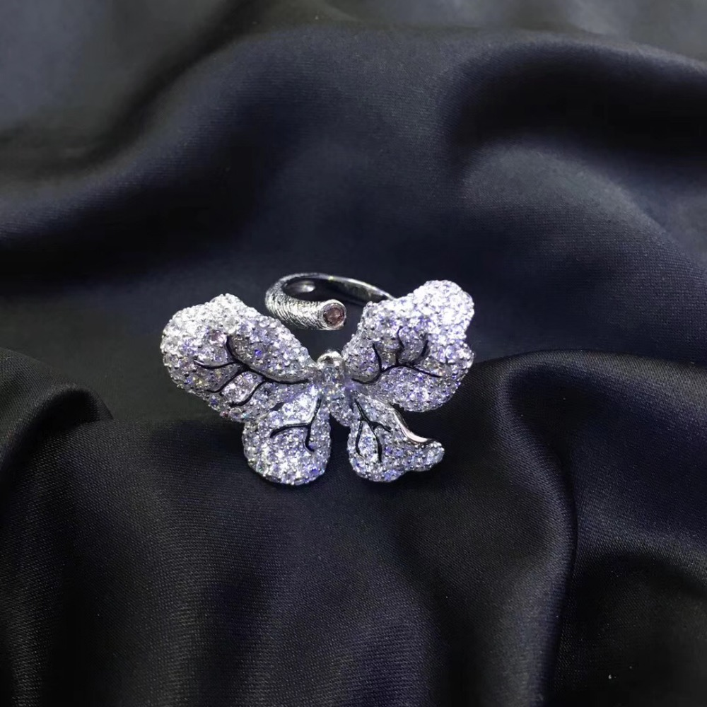 925 sterling silver with cubic zircon butterfly ring cute adjustable size pave stone fashion women jewelry