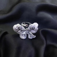 925 sterling silver with cubic zircon butterfly ring cute adjustable size pave stone fashion women jewelry free shipping