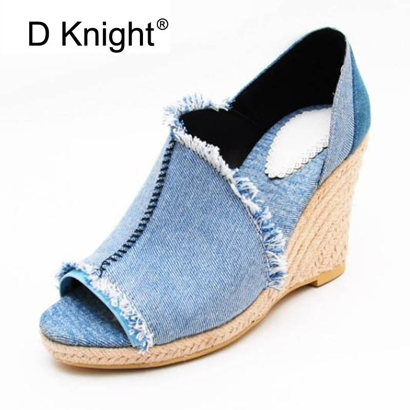 Women Sandals Casual Summer Style Shoes Woman Denim Peep Toe Pumps Slip On Cut-outs Platform Wedges High Heels Sandals For Women hotsale women solid blue flower decoration crossed style slip on sandals summer fashion high suare heel peep toe pumps free ship