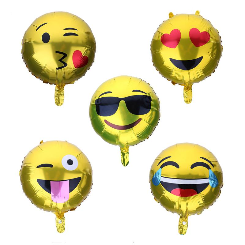 5pcs Aluminum Foil Balloons Expression Smile Face Balloon For Wedding Birthday Party Baby Shower Festival Decoration