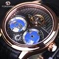 Forsining 2017 tierra real tourbillion multi-dimensional diseñador mens relojes de lujo superior de la marca de moda casual reloj automático