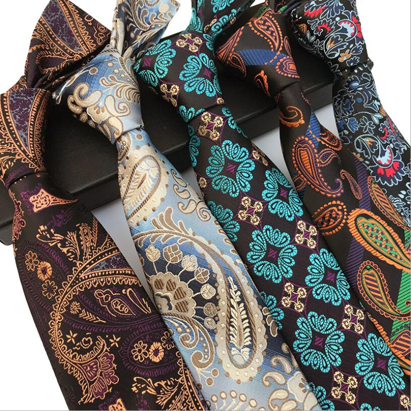 Ricnais Quality Floral Tie 8cm Silk Necktie Plaid Mens Wedding Tie Jacquard Woven Formal Paisley Necktie Suit Business Party