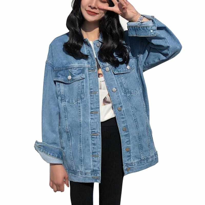 Ladies Denim Jackets Women Spring Turn Down Collar Hole Long Sleeve Casual Denim Jacket Women Jeans Coat Outerwear Plus Size