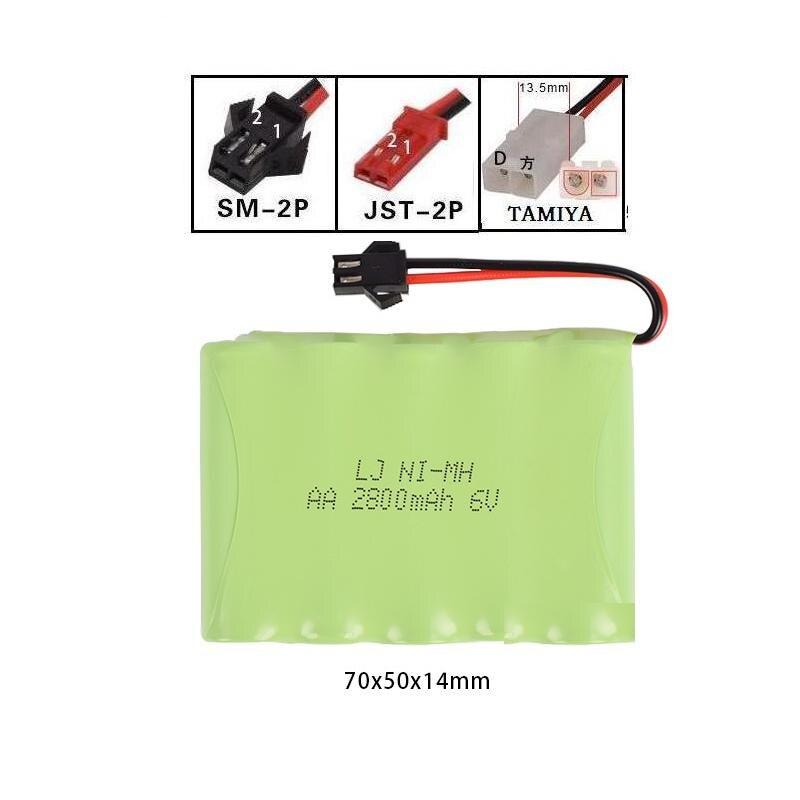 6 V 2800 mAh estilo M alta capacidad AA NI-MH batería recargable para juguetes eléctricos/RC coche/ camión/RC barco Jst/SM/Tamiya