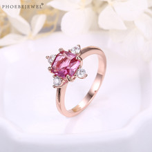 PHOEBEJEWEL New Design Rose Gold Color Finger Ring With Pink CZ Wedding Jewelry Gift 5 Sizes 2019 Wholesale(China)
