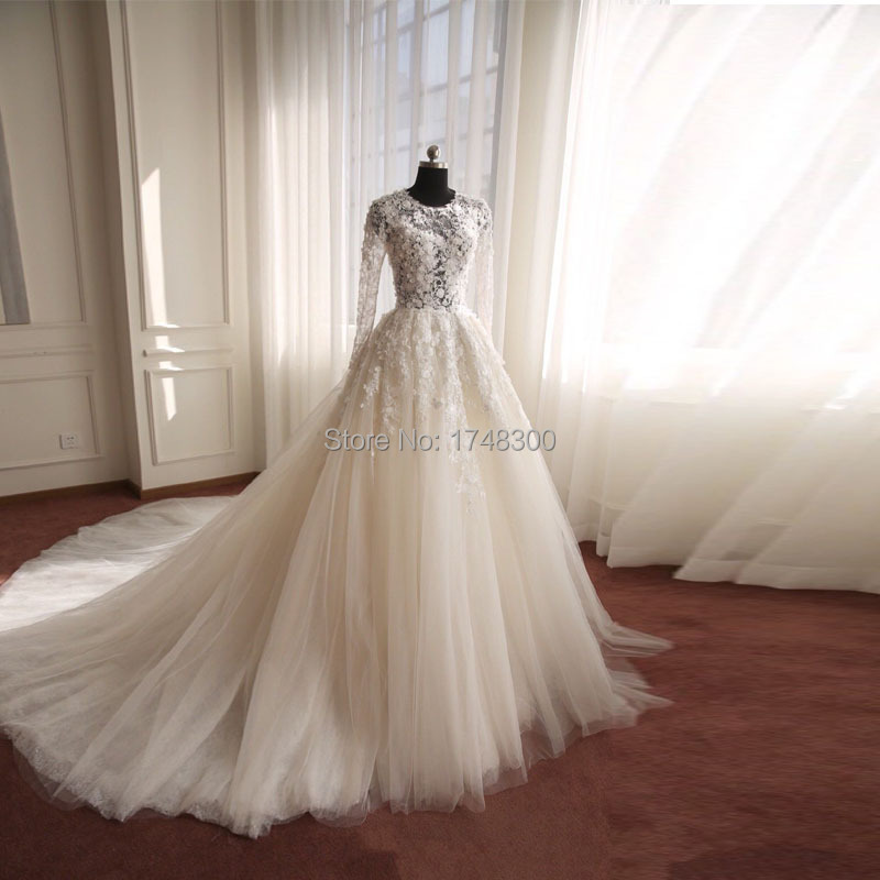 Fashion style long sleeves illusion tulle cheap wedding for Tulle wedding dress with sleeves