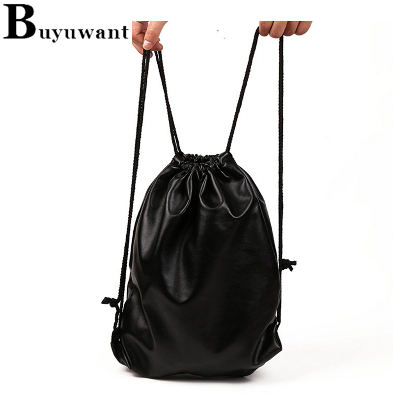 3c01f05a2344 Buyuwant Shining Draw String Backpack Drawstring bag leather beam ...