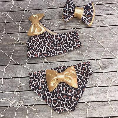 2017 Leopard Лук комплекты детской одежды 3 шт. комплект бикини матч оголовье летние детские для маленьких девочек комплект бикини купальный кост...