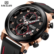Mens Watches MEGIR Chronograph Men Sport Big Dial Watch  Quartz Analog Waterproof Army Military Wristwatch Men Relogio Masculino military quartz watches men fashion green dial army sport running watch for man chronograph cycling wristwatch for male d