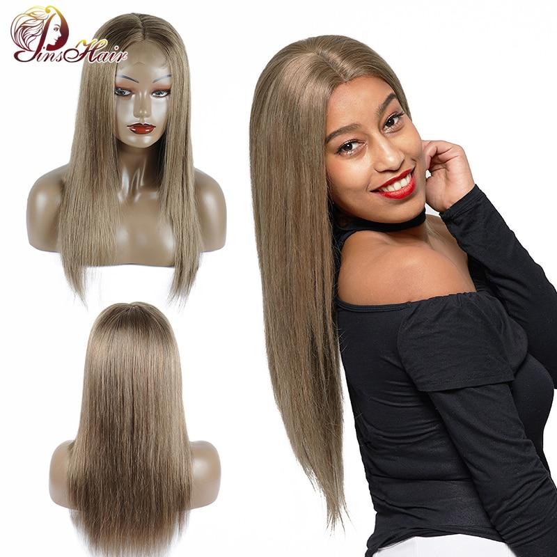 Pinshair 126 Colored Lace Front Human Hair Wigs Green Straight Hair 4 4 Closure Wig Peruvian
