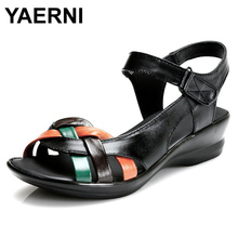 YAERNI 2017 summer new Mother sandals elderly fashion casual Leather Female flat sandals hollow large size women sandals 41 42