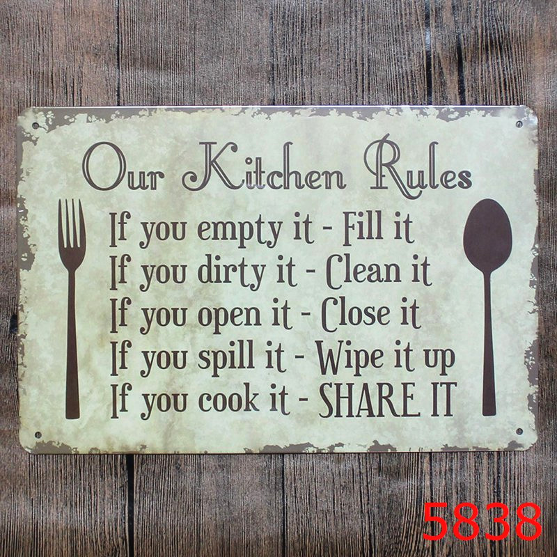 Online Shop OUR KITCHEN RULES Shabby Chic Metal Signs Bar Pub Restaurant  Home Decor ART Wall Stickers Vintage Metal Painting Plaque N090 |  Aliexpress Mobile