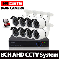 HKIXDSTE 8CH CCTV System AHD DVR 8PCS 960P 1 0MP SONY CCD Waterproof Outdoor CCTV Camera