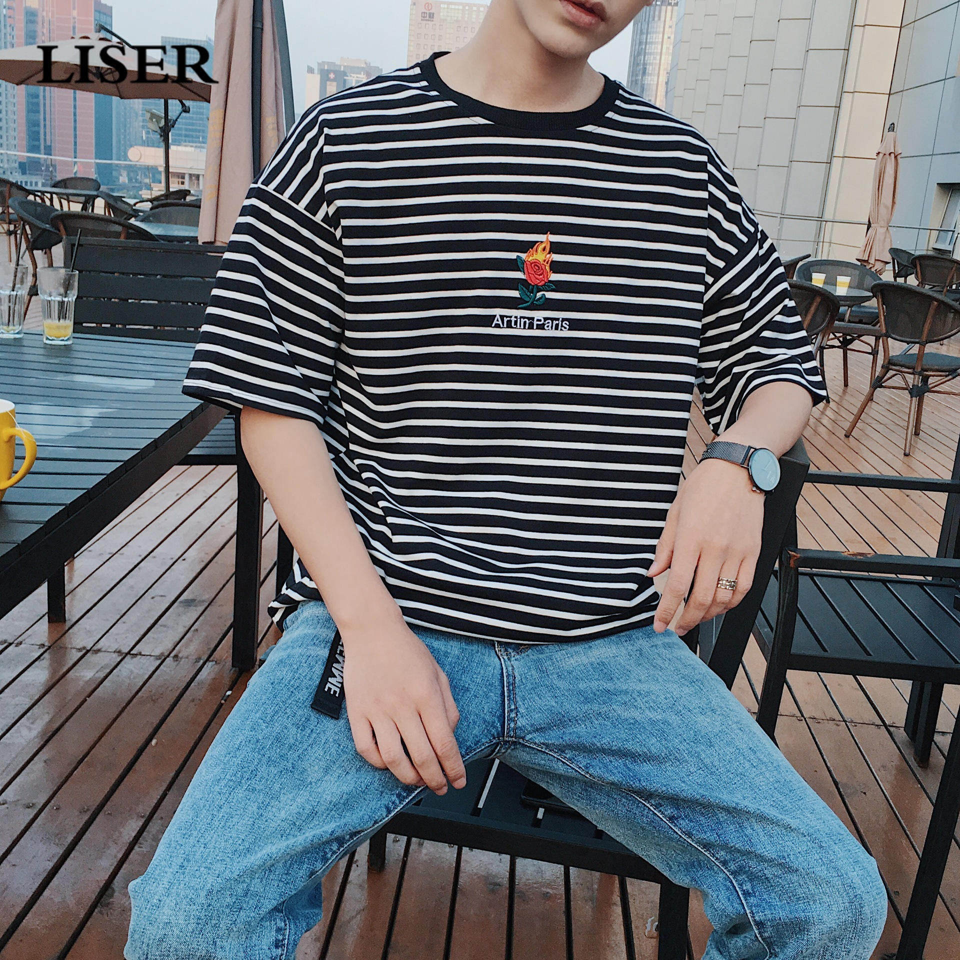 LISER 2019 Sports T-Shirt Summer Stripe Loose Cotton Rose Embroidery Tshirt Men Harajuku Streetwear Tshirts