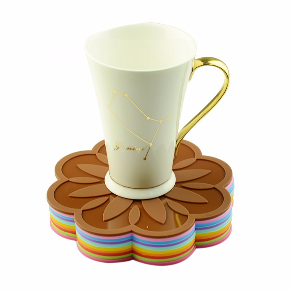 Silicone Round Dining Table Mat Coffee Cup Mug Coaster Heat Insulation Mat Kitchen Table Placemat