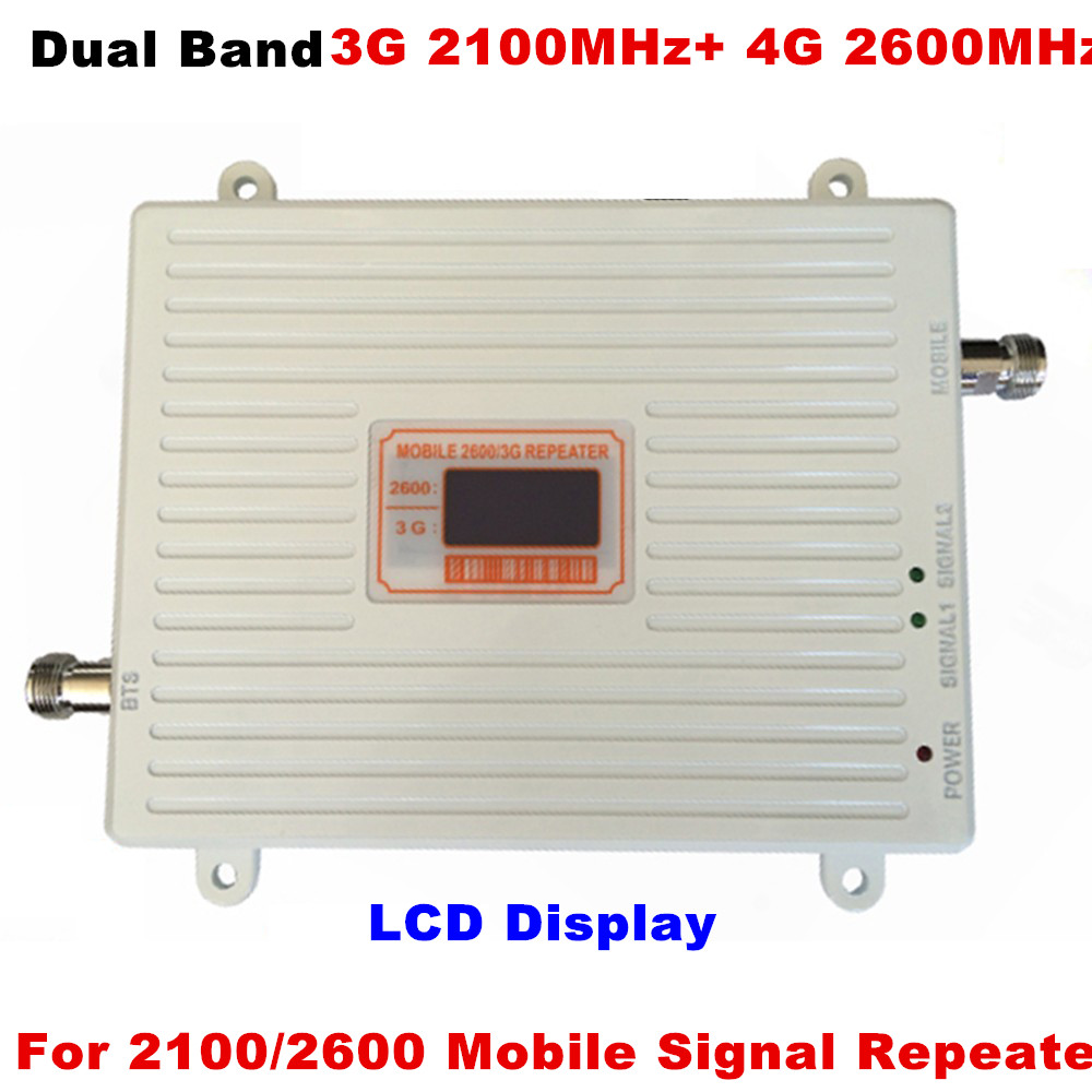 3G 4G Signal Repeater 70dB Gain 3G WCDMA 2100 4G LTE 2600 Band 7 Dual Band Mobile Phone Booster Amplifier 70dB Gain 23dBm Power3G 4G Signal Repeater 70dB Gain 3G WCDMA 2100 4G LTE 2600 Band 7 Dual Band Mobile Phone Booster Amplifier 70dB Gain 23dBm Power