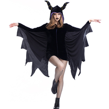 Plus Size XL Adult Black Devil Halloween Costumes Women's Gothic Themed Party Vampire Bat Fantasias Fancy Dress Up Outfit Wears
