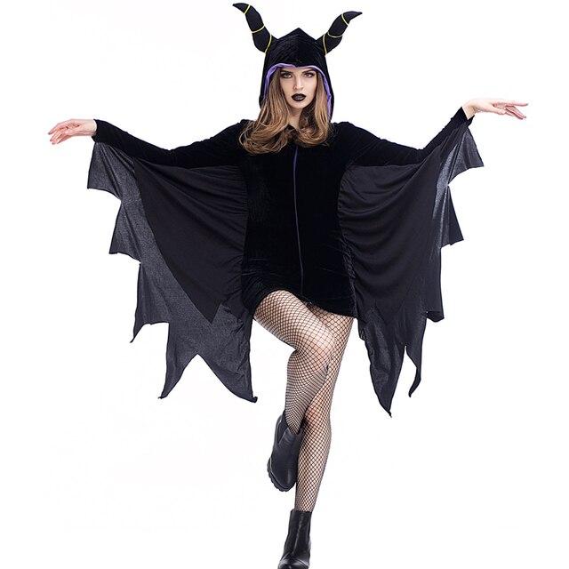 Plus Size XL Adult Black Devil Halloween Costumes Womenu0027s Gothic Themed Party V&ire Bat Fantasias Fancy  sc 1 st  AliExpress.com & Plus Size XL Adult Black Devil Halloween Costumes Womenu0027s Gothic ...