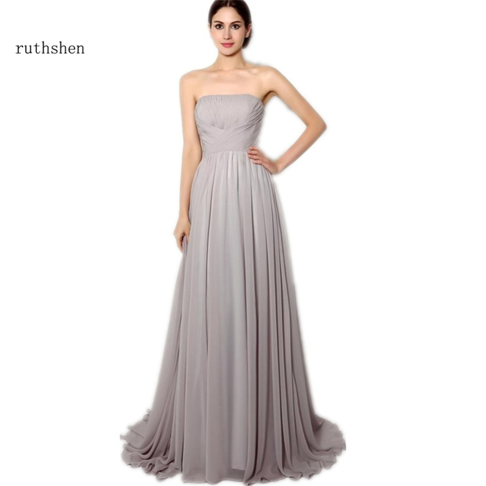 Online buy wholesale grey bridesmaid dresses long from china grey ruthshen grey bridesmaid dresses long strapless pleats draped chiffon vestido dama de honor 2017 cheap bridesmaids ombrellifo Images