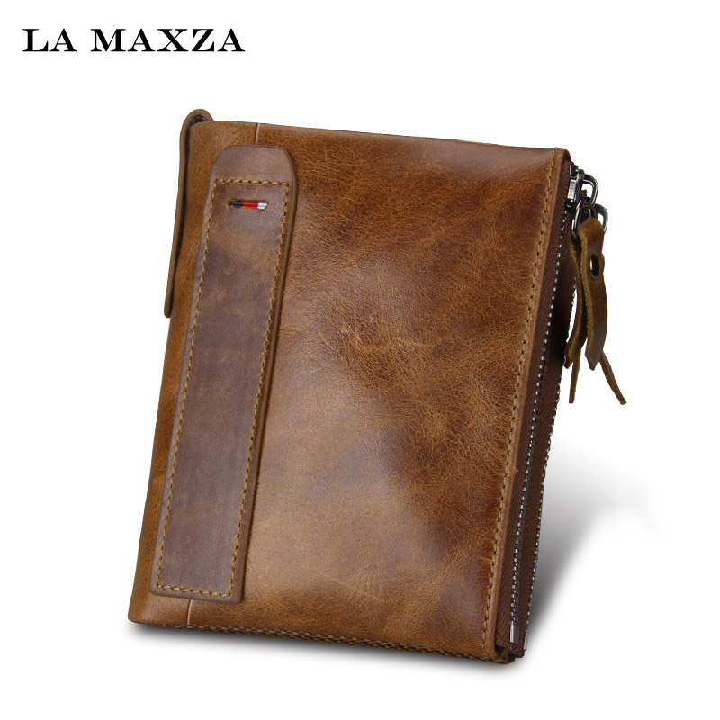 Hot Crazy Horse Genuine Leather Men Wallets Credit Business Card Holders Double Zipper Cowhide Leather Wallet Purse Carteira onlvan mens wallet crazy horse genuine leather cowhide cover coin purse man vintage male credit id multifunctional wallets