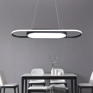 Image 5 - Length 90cm hanging lights White/Black Modern led Pendant Lights For Dining room Kitchent room Bar Pendant Lamp light fixtures