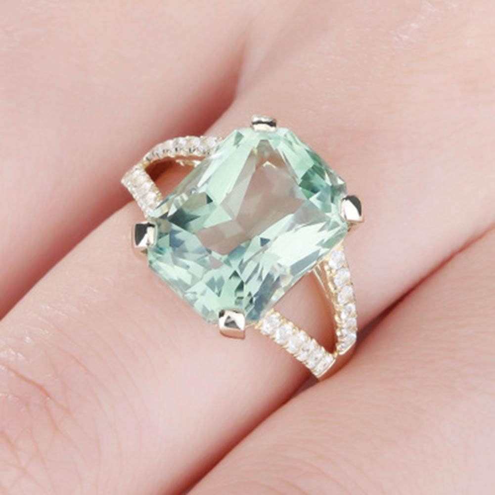 2017 New Fashion Green Crystal Ring Mosaic AAA Zircon for Women ...