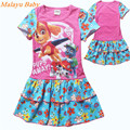 Brand children's clothing 2017 Europe & United States new summer girl cartoon dog team dress, colorful world splicing dress