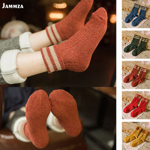 New stripe Deign Brand Women Winter Socks Retro Thick Wool Socks for Boots Green Yellow Blue Red Flanging Warm Female Socks(China)