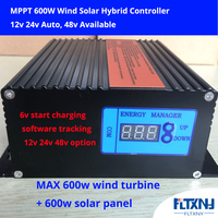 600w MPPT 12V24V Auto switch wind solar hybrid controller low voltage boost booster controller with optional 232 communication