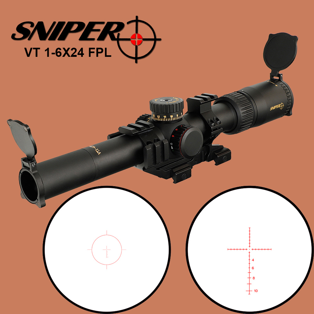 SNIPER VT 1-6X24 FPL Tactical Optical Sight 30mm Tube Riflescope Glass Etched Reticle Red Green Illuminated Hunting Rifle Scope