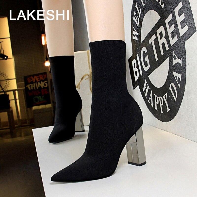e0ef3619d1838 Detalle Comentarios Preguntas sobre LAKESHI las mujeres botas de invierno  botas nuevos tacones altos zapatos de mujer zapatos Sexy botas de tobillo  banda ...