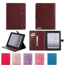 Cat and tree PU Leather Smart Cover For Apple Ipad 2/3/4 Case For Apple Ipad 2 ipad 3 ipad 4 Case Auto Wake Stand