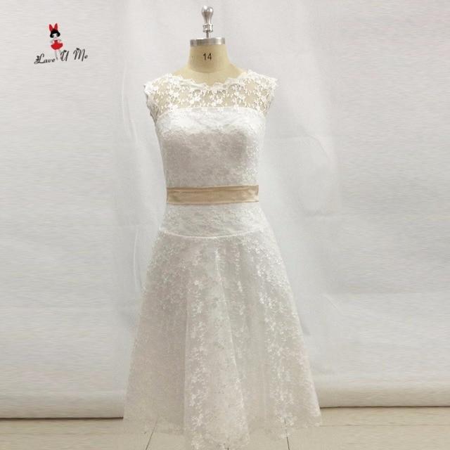 222ad48b417 Vestido De Noiva Ренда Курто Кружево свадебное платье Короткие Шампанское  Sash Дешевые Свадебные платья Китай невесты