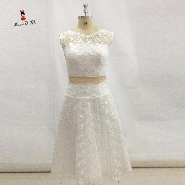 Vestido de Noiva Renda Curto Spitze Hochzeit Kleid Kurz Champagner ...